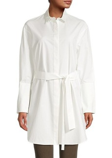 Akris Punto Belted Cotton & Silk-Blend Poplin Tunic Shirt