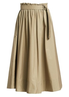 Akris Punto Belted Paperbag Midi Skirt