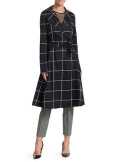 Akris Punto Big Grid Belted Trench Coat