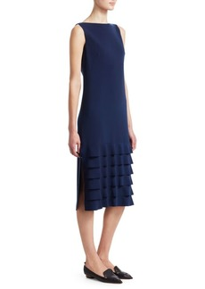 Akris Punto Boatneck Ruffle Hem Midi Dress