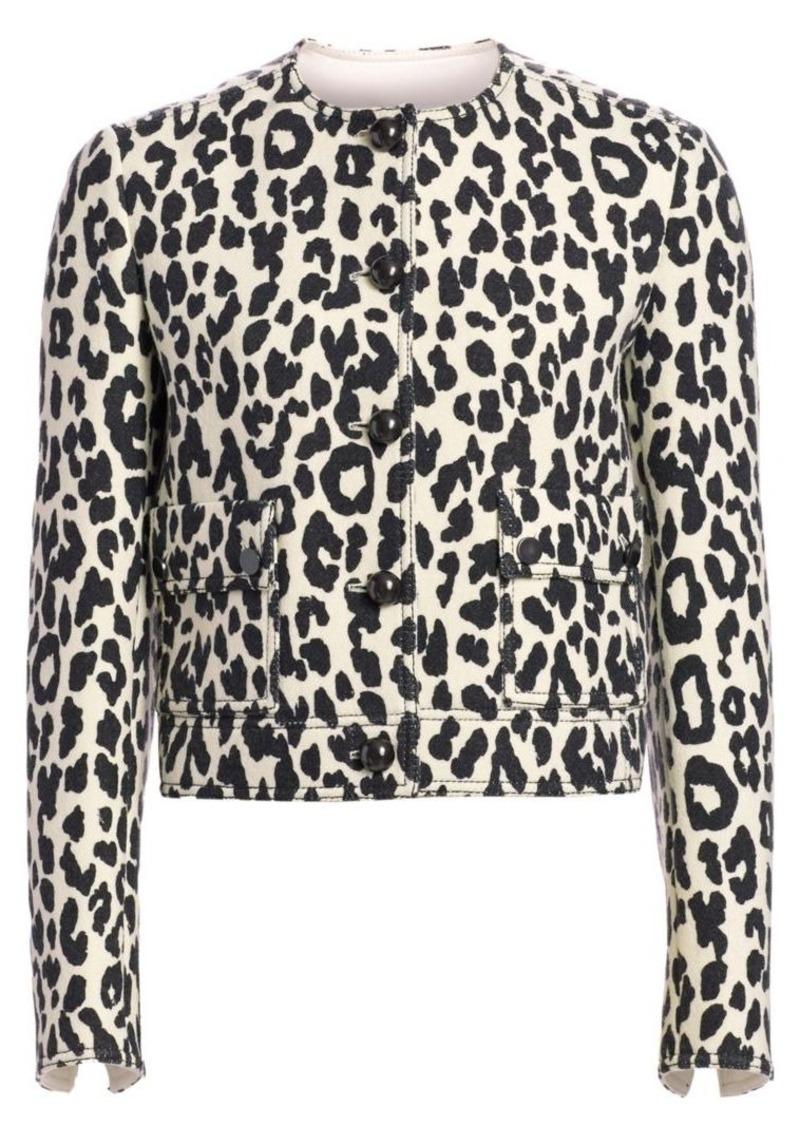 Akris Punto Boxy Leopard Print Jacket