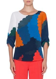 Akris Punto Bracelet-Sleeve Memphis-Nuvola Print Silk Blouse