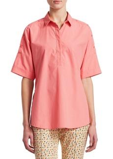 Akris Punto Button Shoulder Cotton Blouse