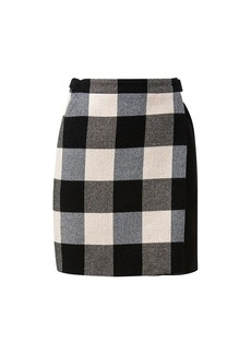 Akris Punto Checkerboard Plaid Wrap Kilt Skirt