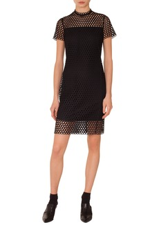 Akris Punto Circle Lace Stand-Collar Short-Sleeve Sheath Dress
