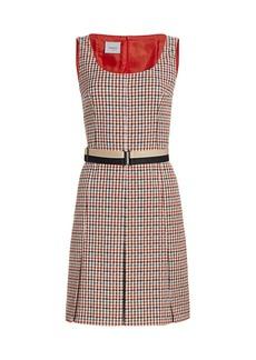 Akris Punto Contrast Belted Houndstooth Dress