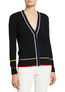 Akris Punto Contrast Stripe Wool Cardigan