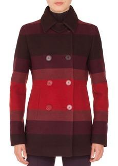 Akris Punto Double-Breasted Multicolor-Stripe Wool Coat