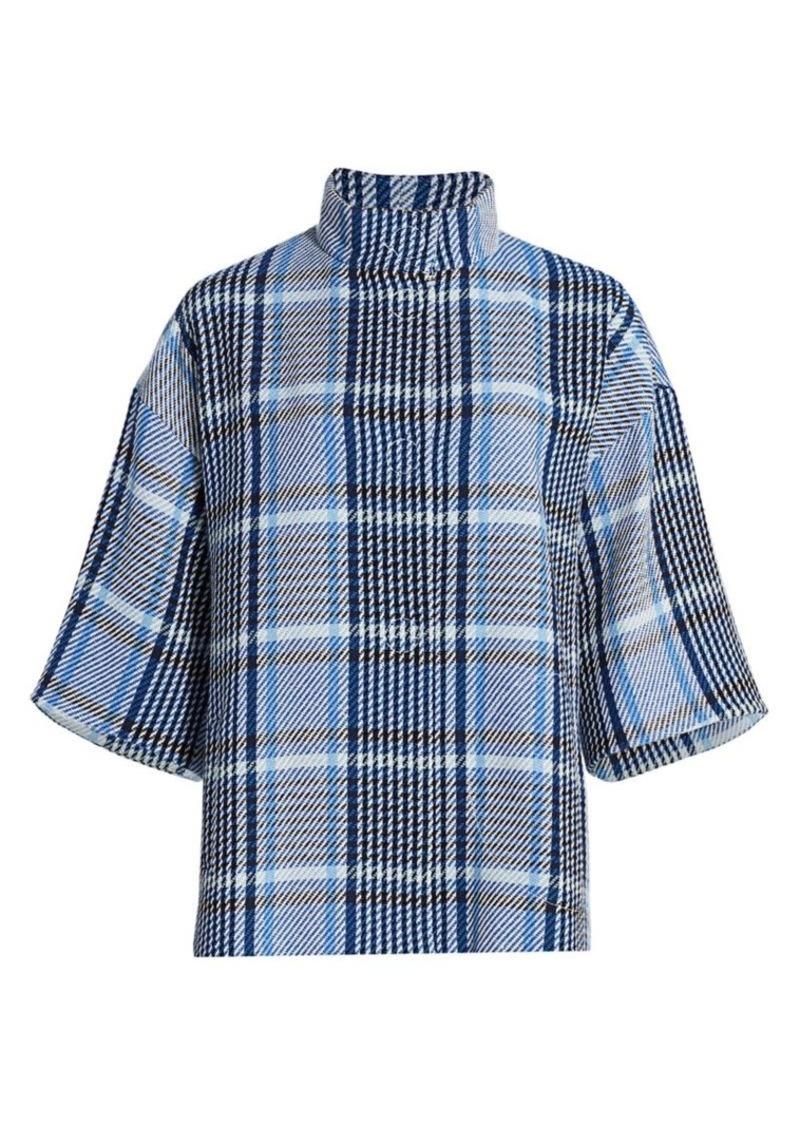 Akris Punto Eggshape Plaid Tweed Coat