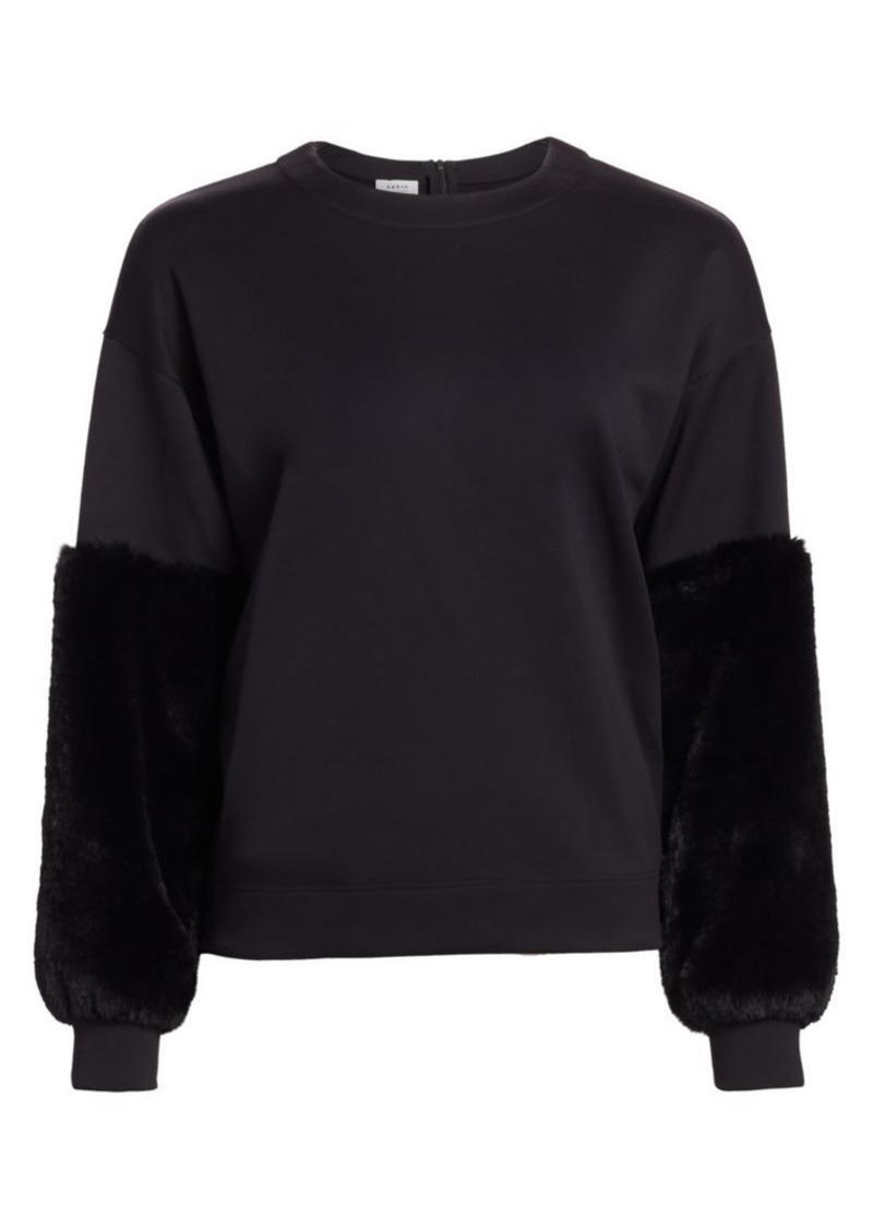 Akris Punto Faux-Fur & Neoprene Long Sleeve Top