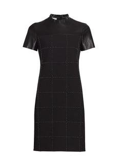 Akris Punto Faux Leather Embellished Short Sleeve Dress