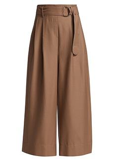 Akris Punto Fiorella Flannel Wool Belted Wide-Leg Trousers