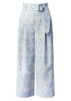 Akris Punto Fiorella Floral Belted Wide-Leg Trousers