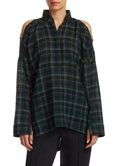Akris Punto Flannel Wool Cold-Shoulder Blouse