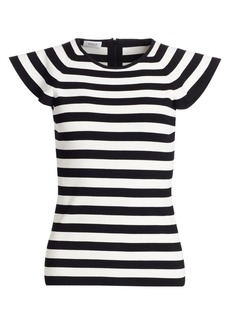 Akris Punto Flounce-Sleeve Striped Tee