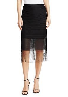Akris Punto Fringed Mesh Midi Skirt