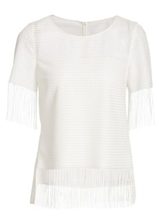Akris Punto Fringed Mesh Top