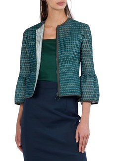 Akris Punto Front-Zip Printed Mesh Knit Jacket
