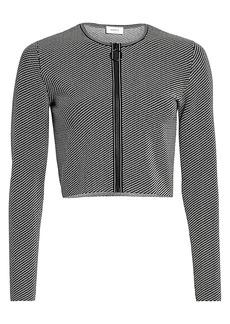 Akris Punto Geo Knit Cropped Zip Cardigan