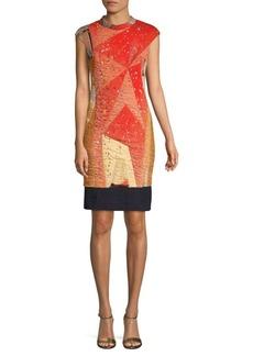 Akris Punto Geometric-Print Cap-Sleeve Dress