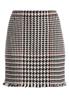 Akris Punto Glen Check High-Waist Mini Skirt