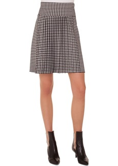 Akris Punto Glen-Check Pleated A-Line Knit Skirt