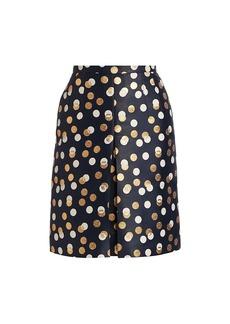 Akris Punto Gold Leaf Dot Front Pleat Skirt