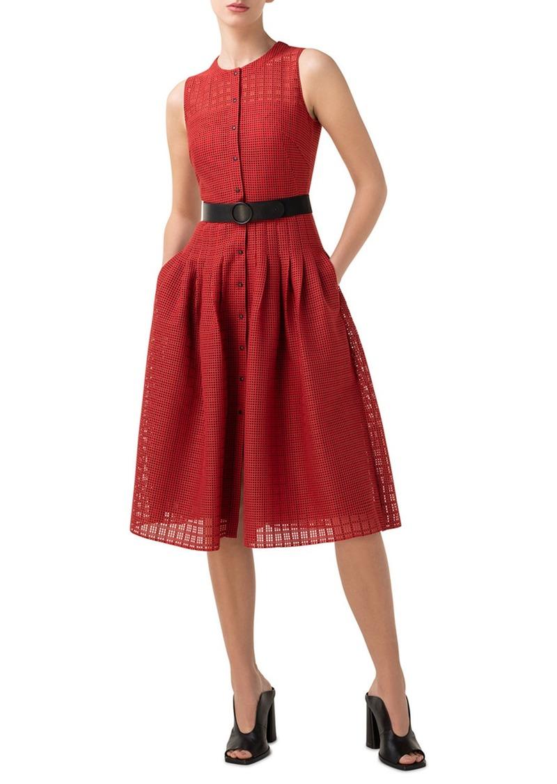 Akris Punto Grid Lace Button-Front A-Line Dress