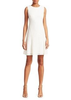 Akris Punto Grid Sleeveless Lace A-Line Dress