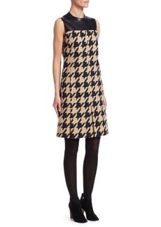 Akris Punto Houndstooth & Leather Shift Dress