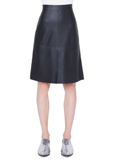 Akris Punto Knee-Length Perforated Leather Skirt