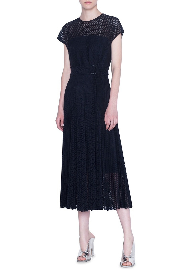 Akris Punto Lace Crewneck Midi Dress