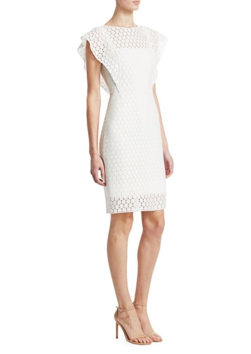 Akris Punto Lace Wave Shoulder Sheath Dress