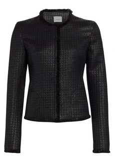 Akris Punto Lacquered Tweed Fringe Jacket