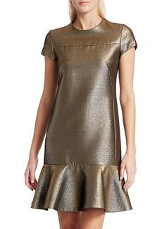 Akris Punto Lamé Cap-Sleeve Dress