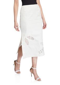Akris Punto Leaf Eyelet Midi Skirt