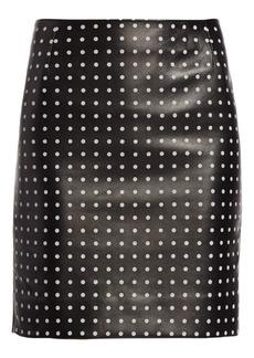 Akris Punto Leather Front Polka Dot Skirt