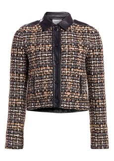 Akris Punto Leather-Trimmed Tweed Short Jacket