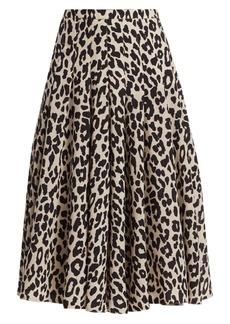 Akris Punto Leopard-Print Wool Midi Skirt