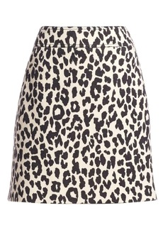 Akris Punto Leopard Print Wool Mini Skirt