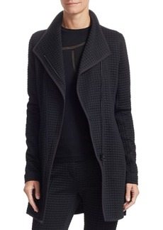 Akris Punto Long-Line Houndstooth Biker Jacket
