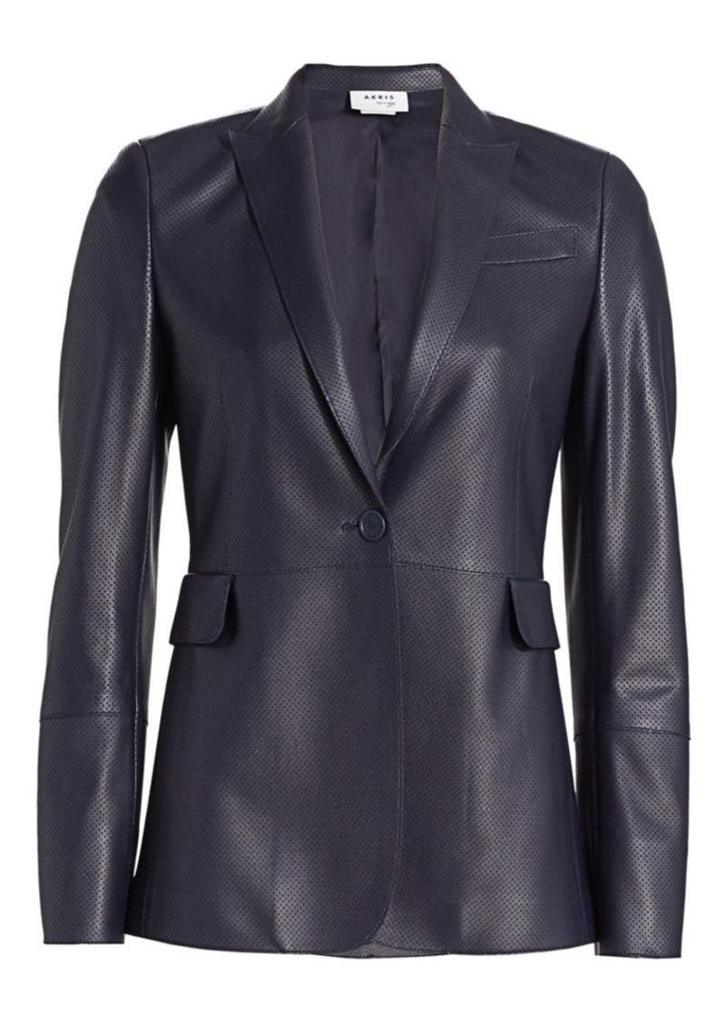 Akris Punto Long Perforated Leather Blazer