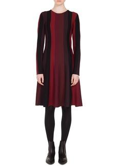 Akris Punto Long-Sleeve Crewneck A-Line Striped Knit Wool Dress