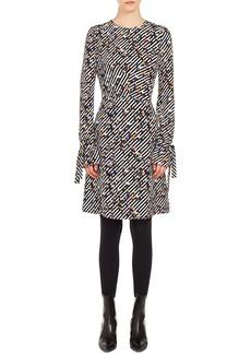 Akris Punto Long-Sleeve Crossroad-Print A-Line Knee-Length Dress