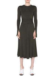 Akris Punto Long-Sleeve Ribbed Merino Midi Dress