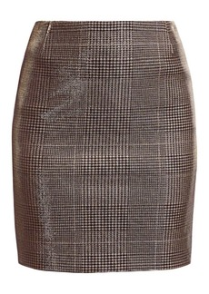 Akris Punto Metallic Lurex Glen Check Mini Skirt