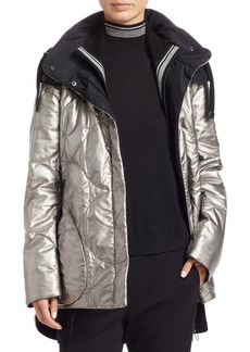 Akris Punto Metallic Nylon Puffer Coat