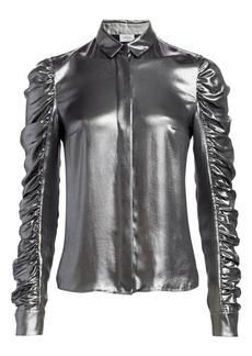 Akris Punto Metallic Ruched Sleeve Blouse
