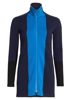 Akris Punto Milano Stretch-Wool Knit Colorblock Zip Jacket