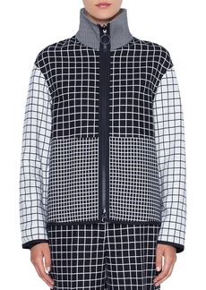 Akris Punto Mixed-Grid Stand-Collar Zip-Front Jacket